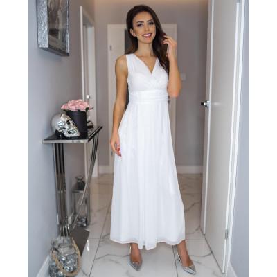 Wieczorowa suknia z szyfonu kopertowy dekolt KM150-3