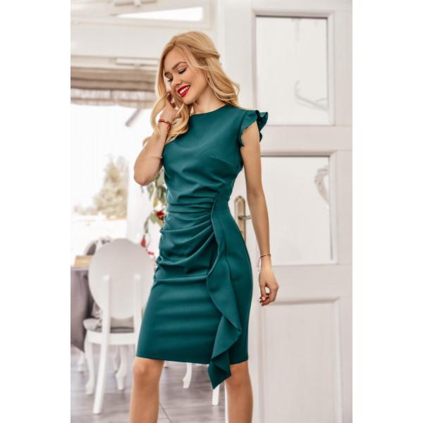 Zielona mini sukienka z falbaną na wesele Km66K-6