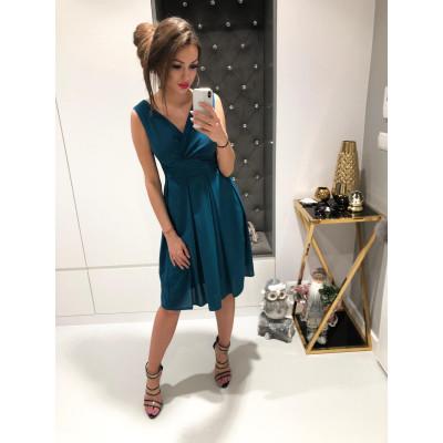 Sukienka z szyfonu kopertowy dekolt NA WESELE Km117-12 ZIELEŃ