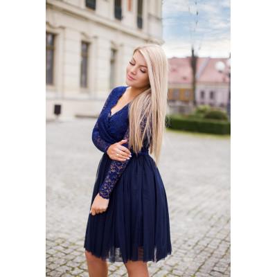 Wieczorowa sukienka z tiulu i koronki KM280-3