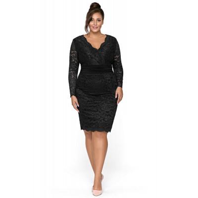 Czarna wieczorowa sukienka z koronki km289ps