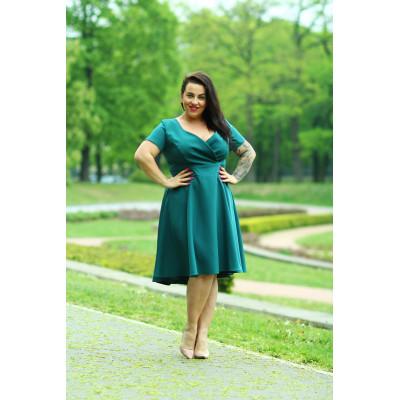 Lena - Asymetryczna wizytowa sukienka KM303-5PS