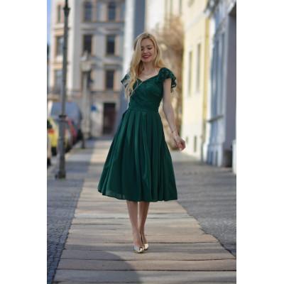 Julia- Elegancka sukienka midi na wesele z koronką KM313-6
