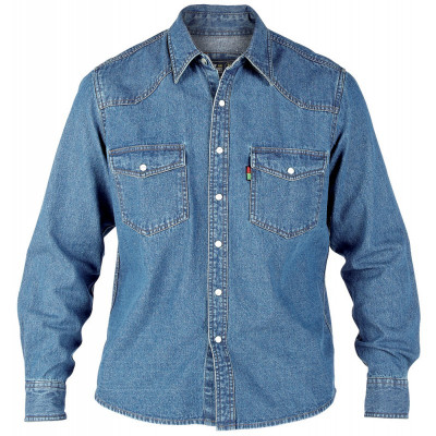 DUKE košeľa pánska WESTERN Style Denim Shirt riflová nadmerná veľkosť
