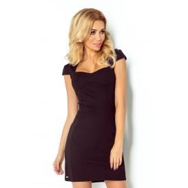 118-5 Sukienka z ładnym dekoltem - CZARNY
