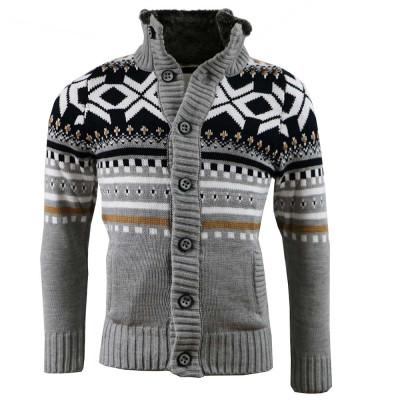 CARISMA sveter pánsky 7011 golier s kožušinkou zapínanie na gombíky